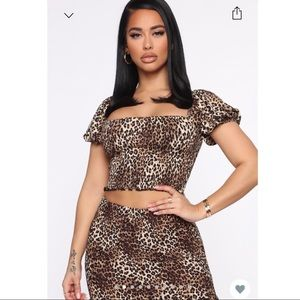 *NEW* 2 piece Leopard print skirt Set